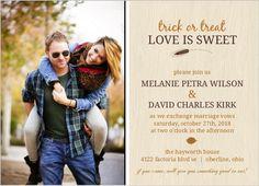 Fall Orange Brown Woodgrain Photo Halloween Wedding Invitation