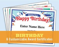 Happy Birthday certificate templates. Recognize the birthday girl or boy in your family or at the office with  these award templates. Six customizable designs. Cool and stylish.  Birthday Certificates Pack, Digital Download, Certificates for kids and adults, child certificates, Birthday party, Happy Birthday, awards.