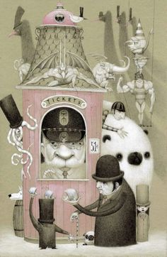 """""""Tickets Please"""" - by Bill Carman [note that hedgehogs are the currency of the day]"""