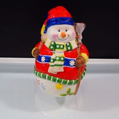 Snowman Cookie Jar Holiday at Home Earthenware Christmas Classic Jay Import  #ClassicSolutions