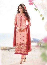 Add grace and charm towards the appearance in this peach cotton satin designer suit. The wonderful dress creates a dramatic canvas with unbelievable embroidered and resham work. Comes with matching bo. Indian Salwar Kameez, Churidar, Salwar Kameez Online Shopping, Indian Sarees Online, Designer Salwar Suits, Lehenga Saree, Desi Clothes, Straight Dress, Cut And Style
