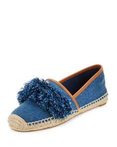 Shaw Fringe Espadrille Flat, Denim Blue/Royal Tan by Tory Burch at Neiman  Marcus.