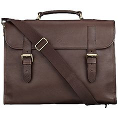 Mulberry Walter Briefcase, Chocolate Natural Leather