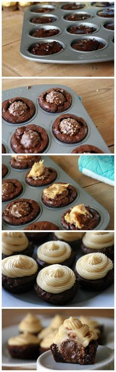 Yum!! Ferrero Rocher Brownie Bites with Caramel Icing
