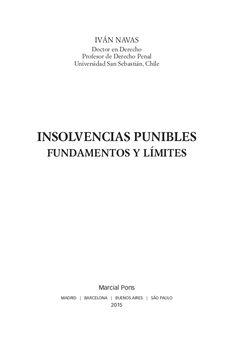 Insolvencias punibles : fundamentos y límites / Iván Navas.. -- Madrid : Marcial Pons, 2015.