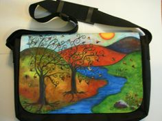 """Laptop Computer Bag by Sharon Samyn   - Beautiful computer bag with reproduction of an original painting I painted with a friend.     This bag measures 12""""x 16"""" is fully padded with adjustable shoulder strap with lots of compartments and storage for all your essentials. $99.00 On Artful Vision, a portion of your purchase is donated to a participating non-profit of your choice. #bags #computer #laptop #art"""