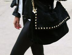 ZARA HANDBAG BAG BLACK LEATHER SUEDE GOLD STUDDED CHAIN LARGE Need this in my life!!