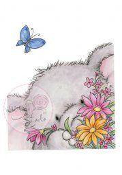 Wild Rose Studio Rubber Stamp - Bella with Butterfly
