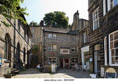 Last of the Summer Wine - Holmfirth - The cafe on the right, the church on the left and the stairs leading down to them.