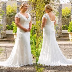 Cap sleeve #plussizeweddingdresses like this are perfect for the bride who wants to cover the top portion of her arm.  The deep v neck line flatters the bust area. And the nice open back is another nice feature.  You can have plus size bridal gowns like this custom made to order for an affordable cost with our American company.  We also can make a very close #replica of any dress from a picture. Please contact us directly for pricing and more information.