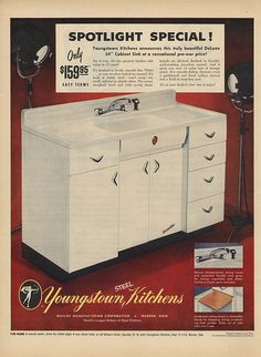 Youngstown steel kitchen sink cabinet... from  ADSAUSAGE - vintage advertising.