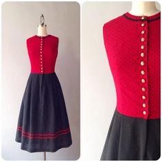 Cute, classy and a bit nautical! 1970s dirndl dress, small.