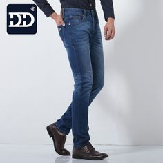 Dingdi Fashion Blue Washed Casual Business Denim Boot cut Men's Jeans Slim Straight Pants Designer Clothes Jeans For Men