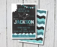 "Printable ""Shark Bite"" Birthday Invitation $12.99. JPEG, 5x7, Ocean, Beach, Chevron, Shark, Chalkboard, Boy, Shark week, Nautical, First Birthday, 1st birthday, Blue, Chalkboard, Cute Shark"
