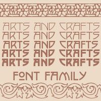 The Arts and Crafts font set derives from Roycroft books and periodicals. It is BJ Palmers favorite Chiropractic Epigram font, many of his quotes are posted in this font.