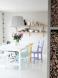 Decoratie ideeën voor de muur achter de eettafel, wat dacht je van een grote print, plankjes of een spiegel aan de muur in de eetkamer?