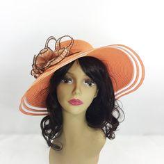 a7fc9b01744644 Chic Ladies Orange Ribbon Tea Party Hat Summer Hat Dress Up Tea Party Hats