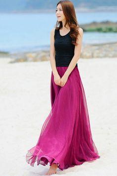 Shining Chiffon Expansion Skirt - OASAP.com
