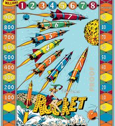 Vintage pinball machine art. Rocket. I love it.