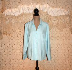 Light Blue Blouse Long Sleeve Blouse Linen Button Up Blouse Casual Oversize Womens Shirt Lane Bryant 18/20 2X Plus Size Womens Clothing