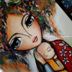 Mother And Child Painting, Painting For Kids, Indian Traditional Paintings, Composition Painting, Arte Popular, Angel Art, Face Art, Art Girl, Cute Pictures
