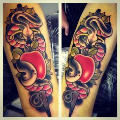 Nice traditional snake & apple tattoo by @adambeatty
