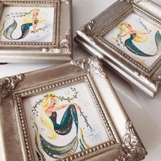 "⠀⠀⠀⠀⠀⠀⠀⠀⠀⠀⠀⠀⠀⠀⠀⠀Liana Hee on Instagram: ""Inspired by those adorable vintage Chicken of the Sea mermaids. ✨Just put these girls in my Etsy shop. Link in profile. Mini frames from @michaelsstores. #MondayMermie #MiniMermies"""