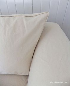 Sofa slipcover made with #12 cotton duck from Big Duck Canvas. Perfect shade of natural. Love the relaxed, worn-in look.