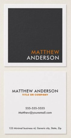 Square, professional business cards or personal profile cards in gray and white with accents in orange (can be changed). A modern and minimal design featuring a gray front with white border. Name and surname are placed in the bottom right hand corner. On the back are customizable template fields for name, title/company name/specialty and contact information. This square business card is clean, sleek and contemporary. Ideal for an accountant, developer, attorney, lawyer, doctor etc