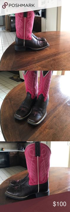 Women's Ariat Boots🤑 Size 6.5B WORN ONCE! Excellent condition. They have just been sitting in our boot rack at home! They need to go to someone who is going to get some use out of them. They are a gorgeous pink and dark brown. My loss is your gain! Ariat Shoes Heeled Boots