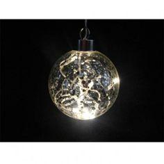 Bola de cristal decorativa con luz led. Color transparente. Especial para iluminación navideña. 8 luces led en el interior. Longitud de cable 5 metros. Diámetro: 10 cm.
