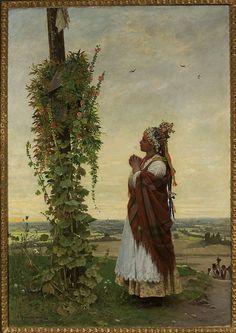 """Antoni Kozakiewicz  (1841-1929)🇵🇱🎨  """"Dziewczyna wiejska przed kapliczką"""",1894"""