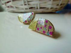 Martinuska / Pink dots/cork earrings