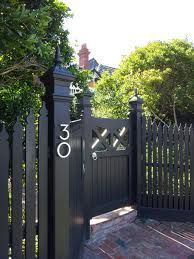Modern House Number Aluminum Modern Font Number One 1 - how to build a fence Modern Fencing And Gates, Garden Gates And Fencing, Fence Gate, Horse Fence, Gabion Fence, Bamboo Fence, Front Yard Decor, Front Fence, Front Yard Fence Ideas Curb Appeal
