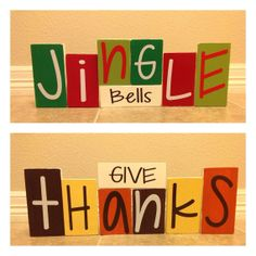 Give Thanks & Jingle Bells Wooden Blocks by CreationsbyKriss10, $35.00
