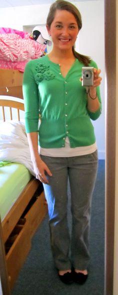 gray pants, emerald green cardigan, black flats