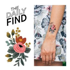 """The Daily Find: Tattly Tattoo"" by polyvore-editorial ❤ liked on Polyvore featuring beauty, Rifle Paper Co, DailyFind and beautyfind"