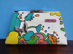 Vintage Fabric Clutch Purse 1970s Peter Max