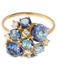 Suzanne Kalan Gold English Blue Topaz Cluster Ring