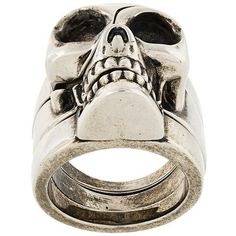 Alexander McQueen divided skull ring (£285) ❤ liked on Polyvore featuring men's fashion, men's jewelry, men's rings, metallic, mens skull rings, mens gothic rings and mens rings