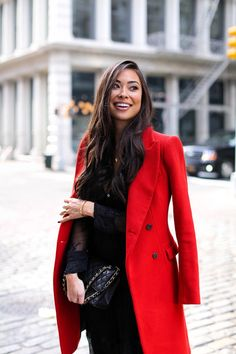 Outfit Ideas for Statement Coats | Red and Black