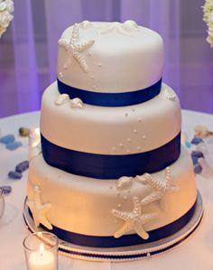 WeddingChannel Galleries: White & Navy Wedding Cake