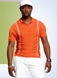 Blair Underwood wearing his exclusive K spring collection #orange #polo