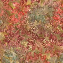 Northwoods 5 Batik Poinsettias - Nature