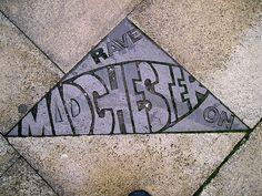 It's written in the pavements, Northern Quarter, Manchester, United Kingdom, photograph by Karen Bryan. Manchester Street, Manchester City Centre, Manchester Uk, Manchester Northern Quarter, Midland Hotel, Street Art, Pavement Art, British Travel, Graffiti