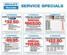 Service Specials & s - October | Valley Honda Specials ...
