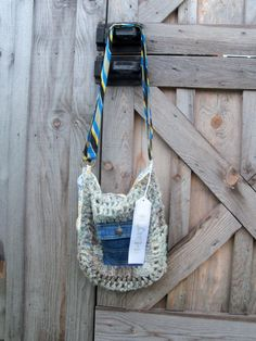Felted Crocheted Purse with Upcycled Denim and Necktie