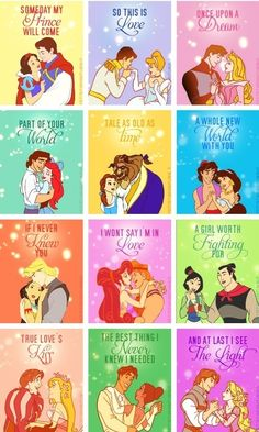 princess printables along with 33 Disney Crafts Ideas and Recipes for prepping for your trip to Disney World or Disneyland, or just wishing you were back there! Disney Pixar, Walt Disney, Disney Amor, Disney E Dreamworks, Disney Couples, Disney Magic, Disney Characters, Funny Disney, Disney Princess Quotes