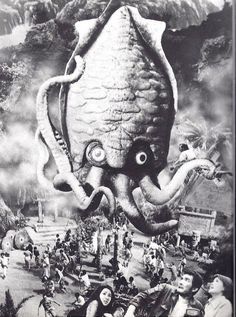 Publicity still for Ishiro Honda's SPACE AMOEBA, featuring colossal cuttlefish Gezora on the rampage!