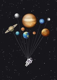 Items similar to Space traveller - funny astronaut solar system ballons - Wall art astronomy digital print scifi galaxy solar system geek planets art poster on Etsy Galaxy Wallpaper, Iphone Wallpaper, Jupiter Wallpaper, Galaxy Solar System, Space And Astronomy, Collage Art, Wall Art Prints, Illustration Art, Geek Stuff